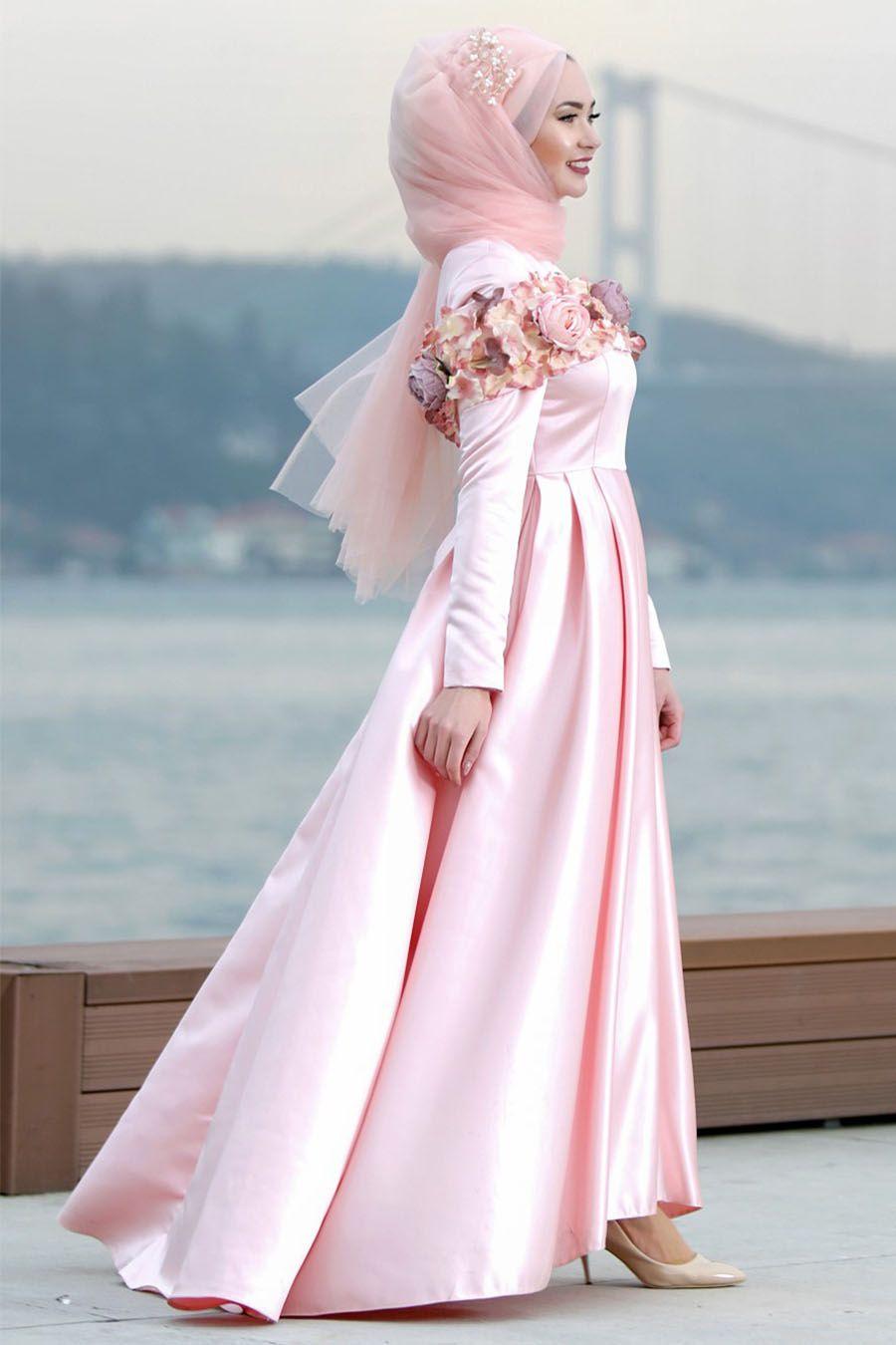 Tuay - Çiçek Detaylı Pudra Tesettür Abiye Elbise 2388PD | elbise ...