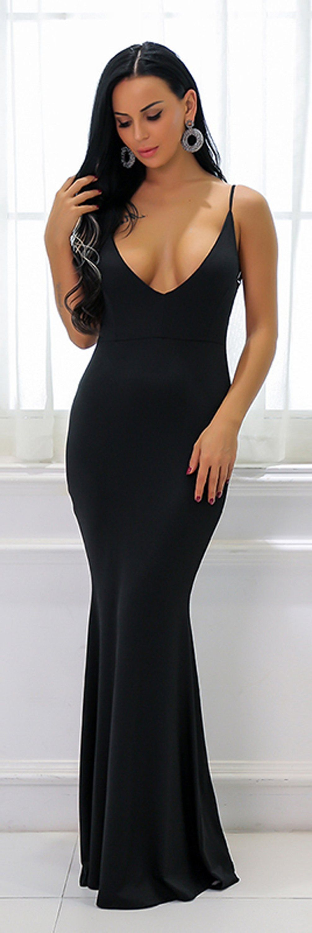 03bbc67572 Hot Black Tight Long Prom Dresses - Low Cut Ruched Backless Deep V Neck  Plunge Mermaid Gown Simple Maxi Dress for Graduation Homecoming Cocktail  Evening ...