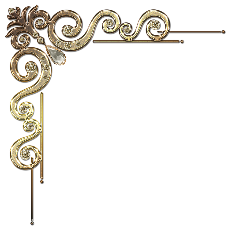 Decorative Corner With Citrine In Gold By Lyotta On Deviantart Clip Art Borders Corner Borders Free Clip Art