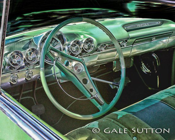 1960 Chevy Impala, Classic Car, HDR Photo, Mint Green, Impala Interior, 1960 Chevy Dash, Classic Car Art, Retro, Gifts for Guys, Wall Art