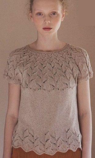 Платье с кокеткой вязаное спицами