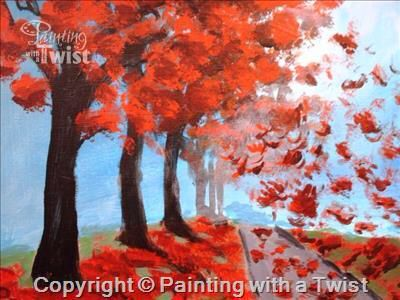 Autumn rain pwat paintingwithatwist painting with a for Painting with a twist cedar hill tx