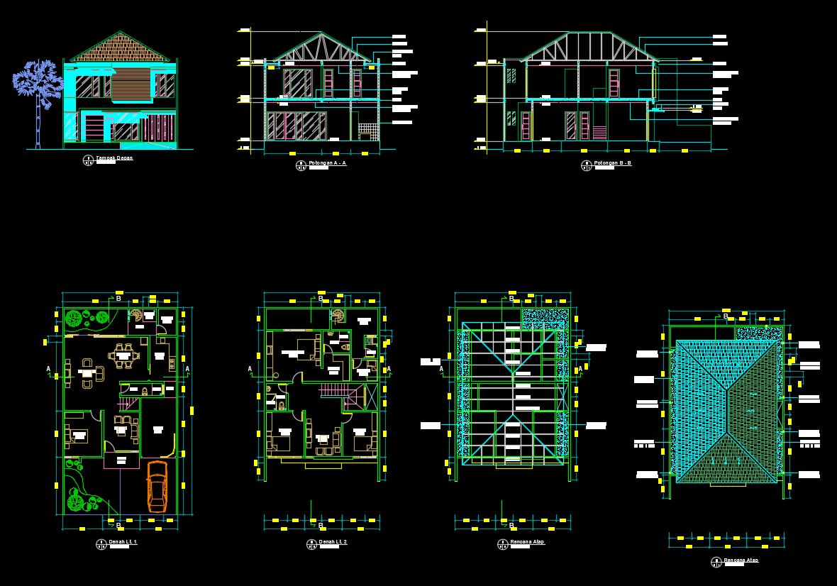 Download Desain Rumah 2 Lantai Dwg Paling Bagus Gratis Desain Rumah Desain Klasik