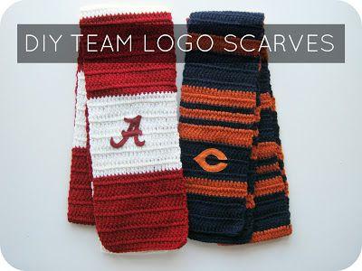 DIY Team Logo Scarves :: Free Pattern from corn flower blue Fir my ...
