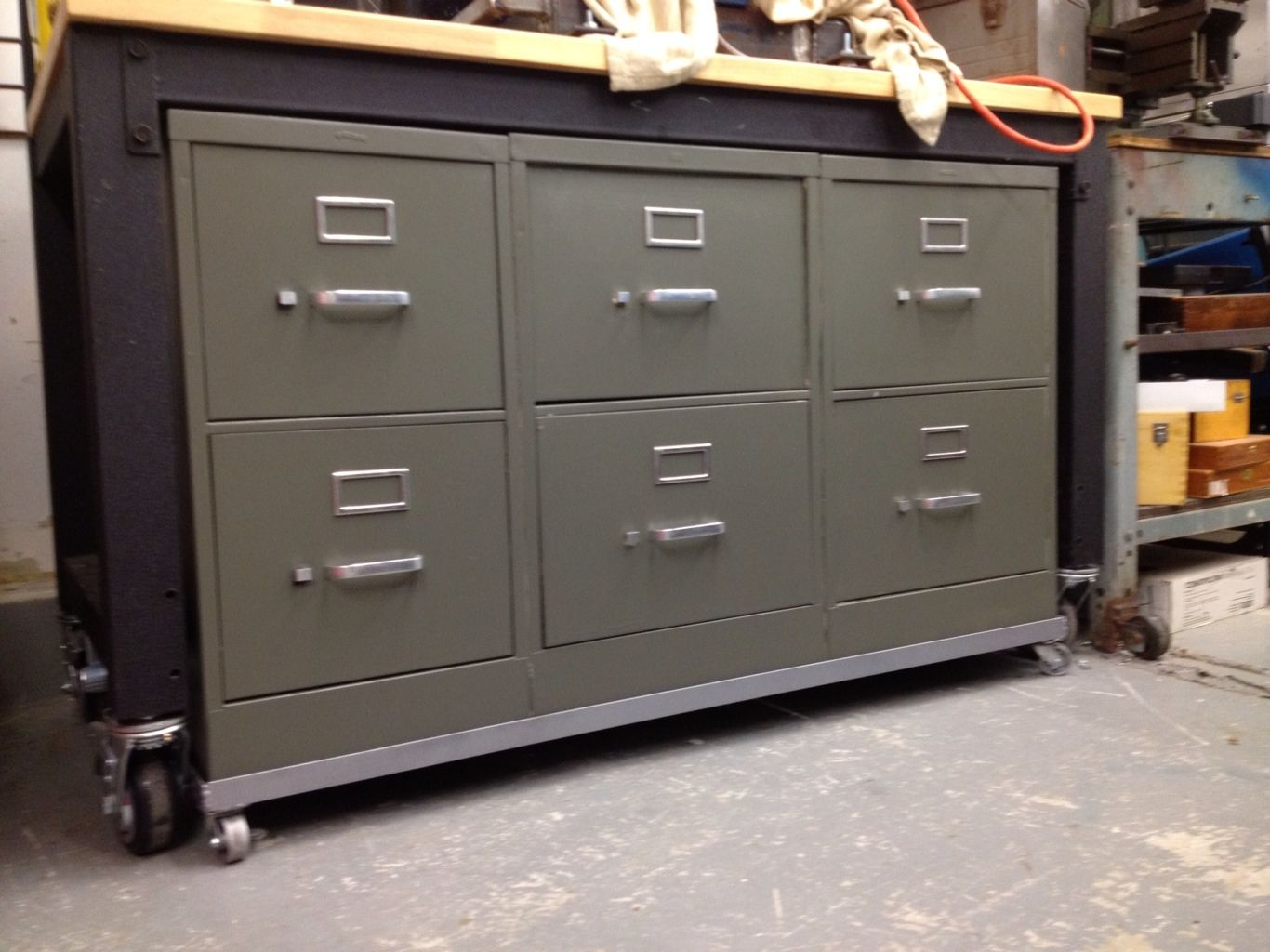 filing cabinets modified into tool work bench - Rolling Workbench