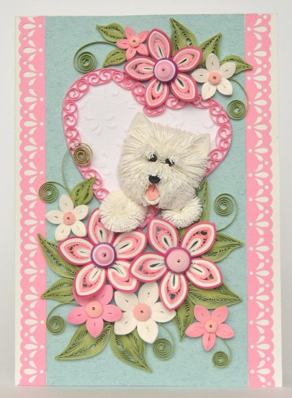 Маленькие открытки из квиллинга, открытка