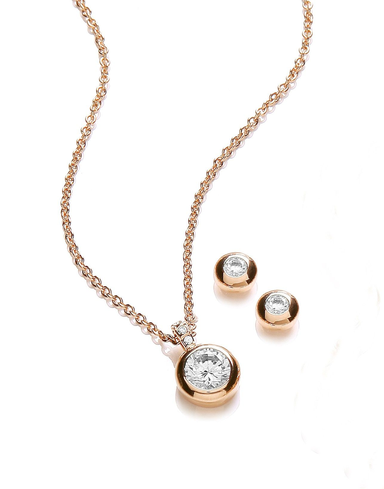 Gold plated earring and pendant bezel set buckley london ss