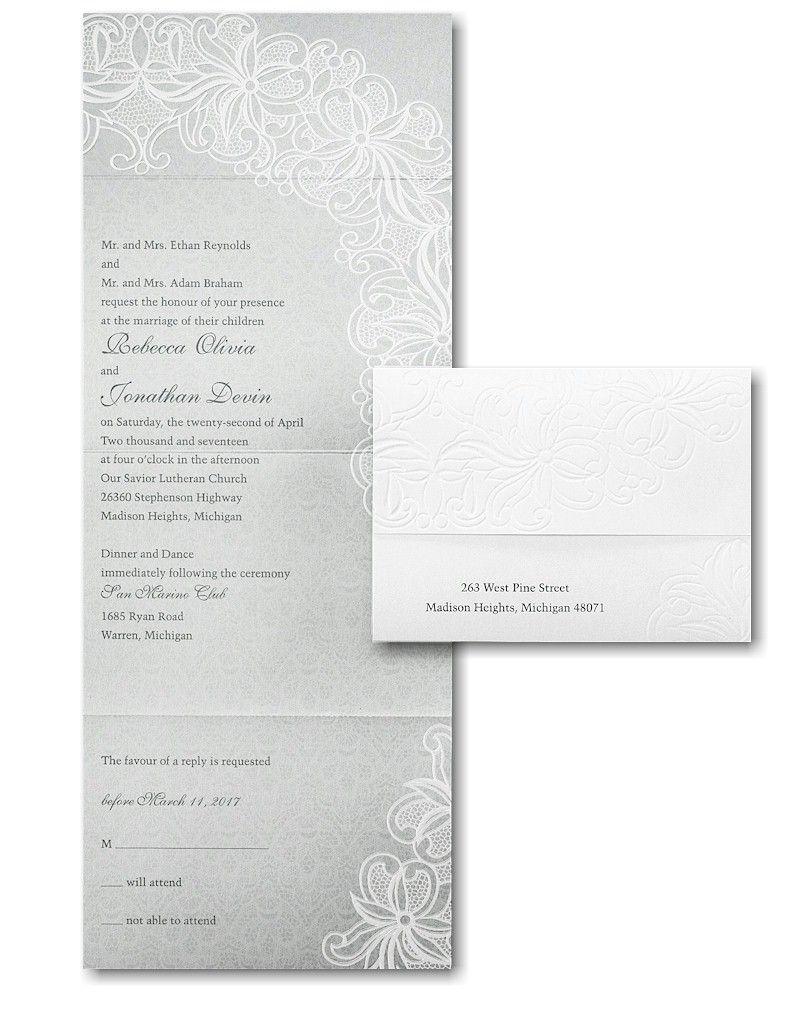 Luxurious Lace Seal N Send Wedding Invitation Seal N Send
