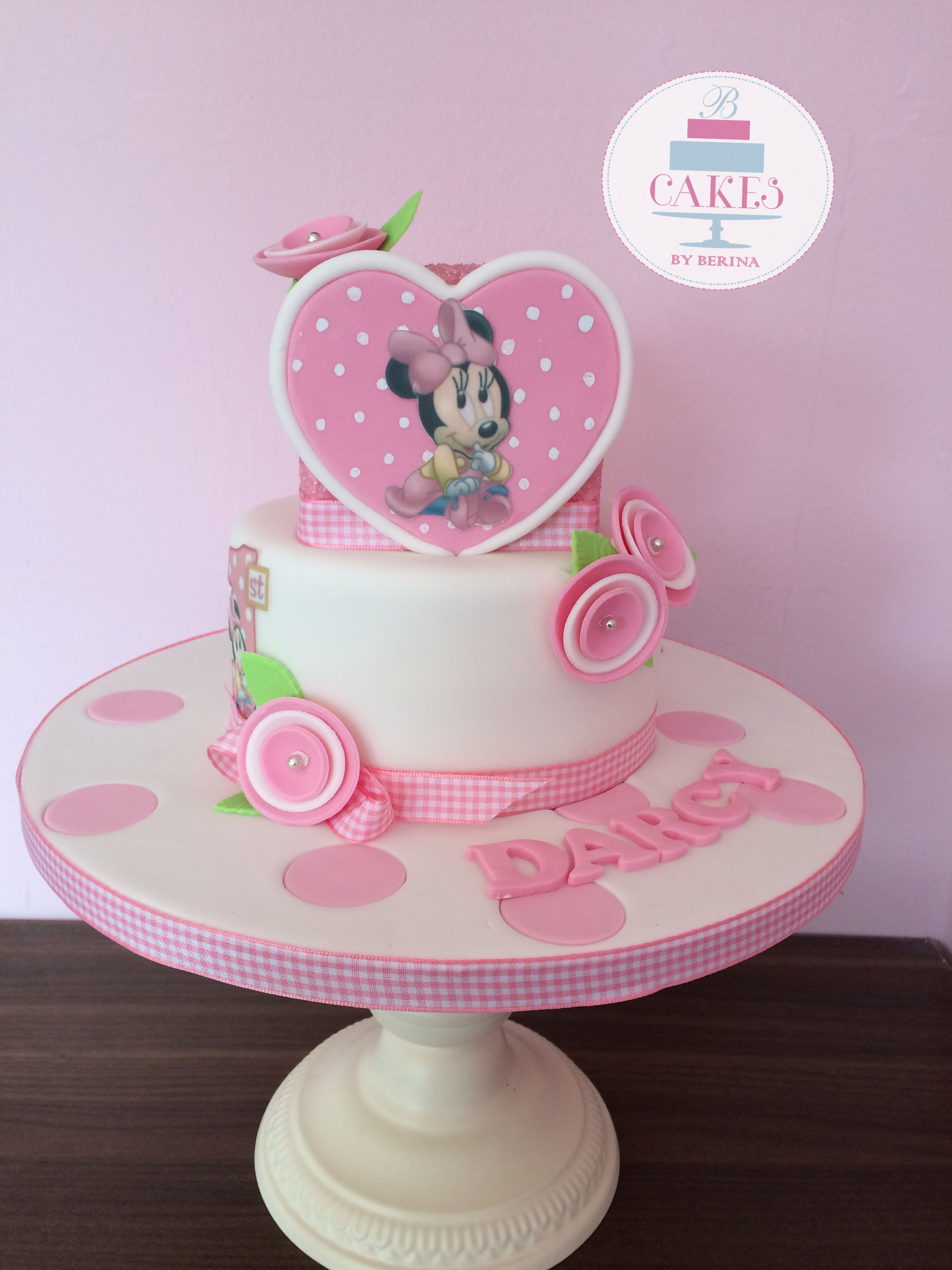 2 tier pretty pink Minnie Mouse birthday cake baby minne Cakes