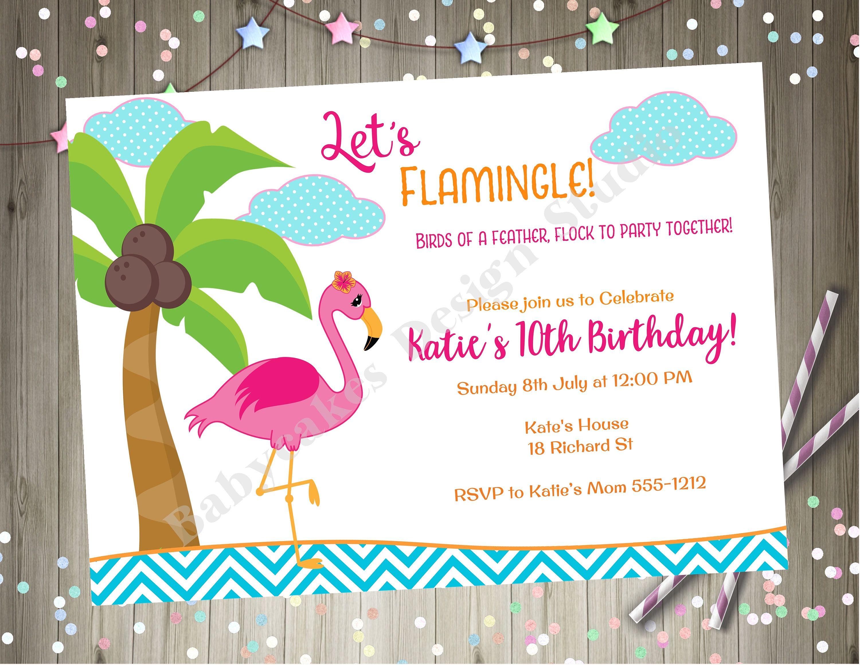 Lets Flamingle Flamingo Birthday Party Invitation Invite Baby Shower Bbq