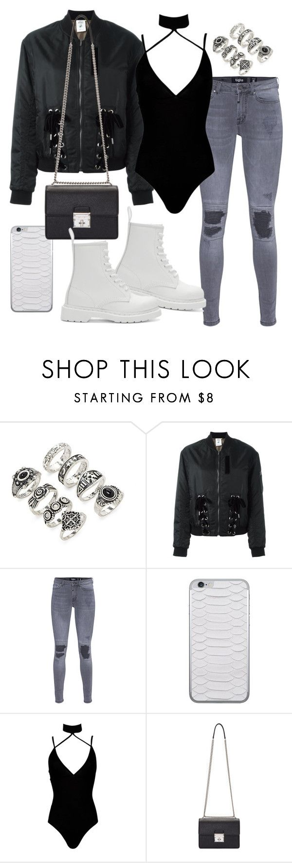 """""""Untitled #2274"""" by mariie00h ❤ liked on Polyvore featuring Forever 21, Steve J & Yoni P, TIGHA, Jamie Clawson, Boohoo, Dolce&Gabbana and Dr. Martens"""