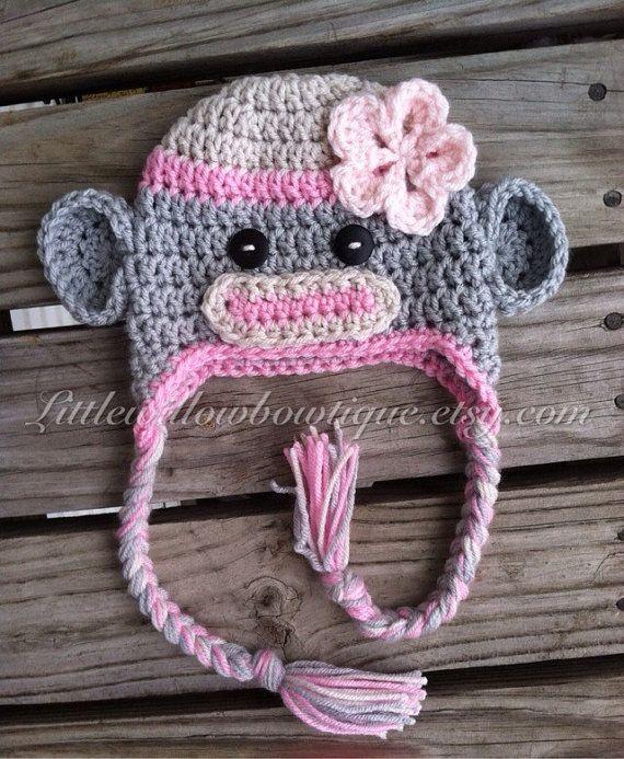 Crochet sock monkey hat sock monkey hat by littlewillowbowtique