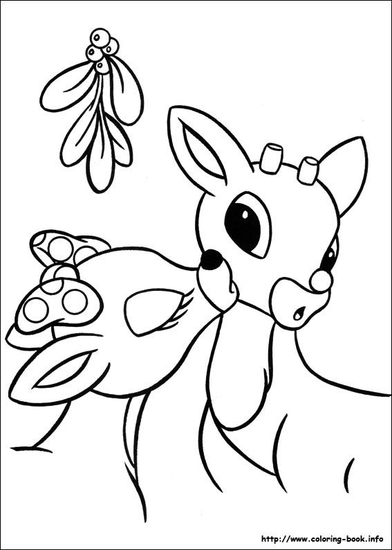 Rudolph And Clarice Kiss Color Page Rudolph Coloring Pages Coloring Pages Christmas Coloring Sheets