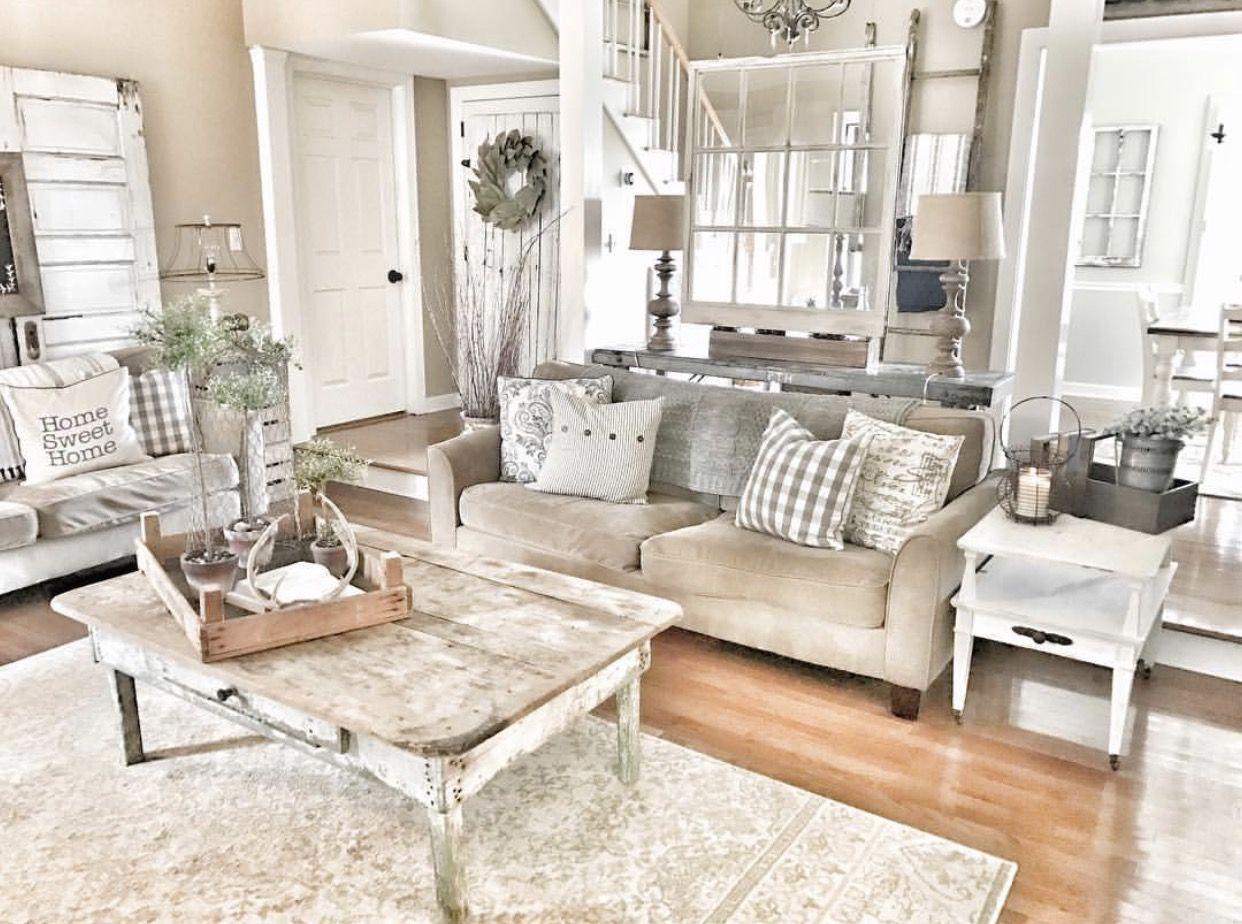 Farmhouse living room!! Chippy doors and windows. Fixer