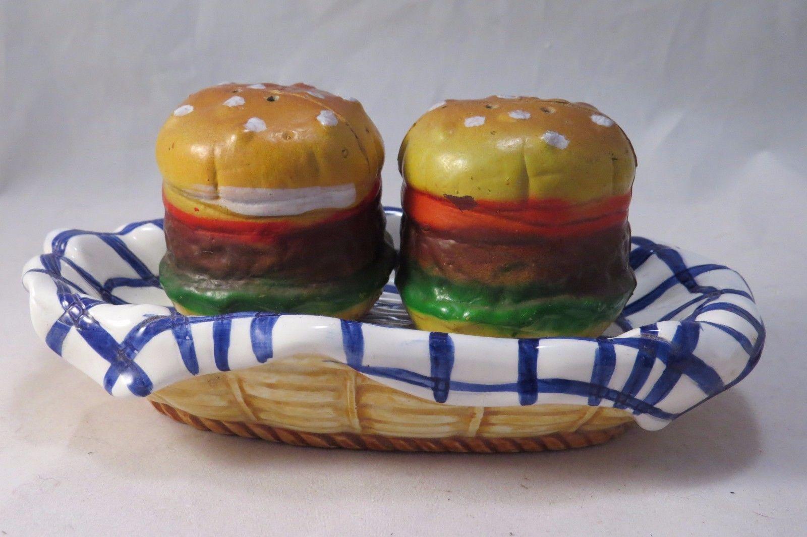 cheerful cool salt and pepper shakers. Hamburgers On Plate Salt  Pepper Shaker Set Bbq Picnic Summer Theme