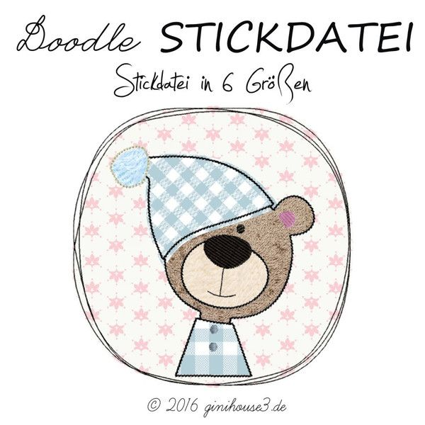Stickmuster DOWNLOAD Stickdatei Doodle Button SCHLAFBÄR