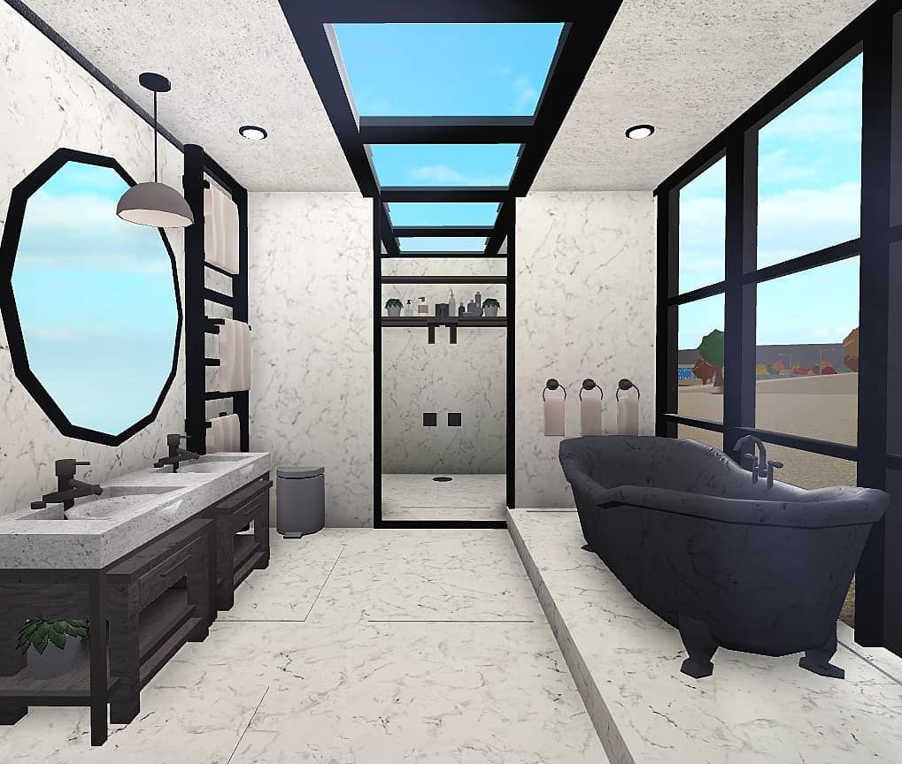 Roblox Bloxburg Builder On Instagram Modern Bathroom Tags Roblox Ro House Plans With Pictures Two Story House Design Beautiful House Plans