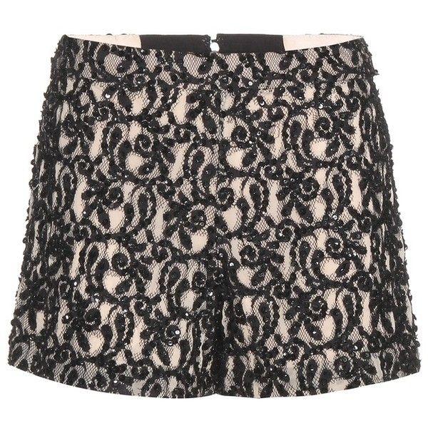 Alice + Olivia Embellished Shorts (£125) ❤ liked on Polyvore featuring shorts, black, alice olivia shorts, embellished shorts and sequin shorts