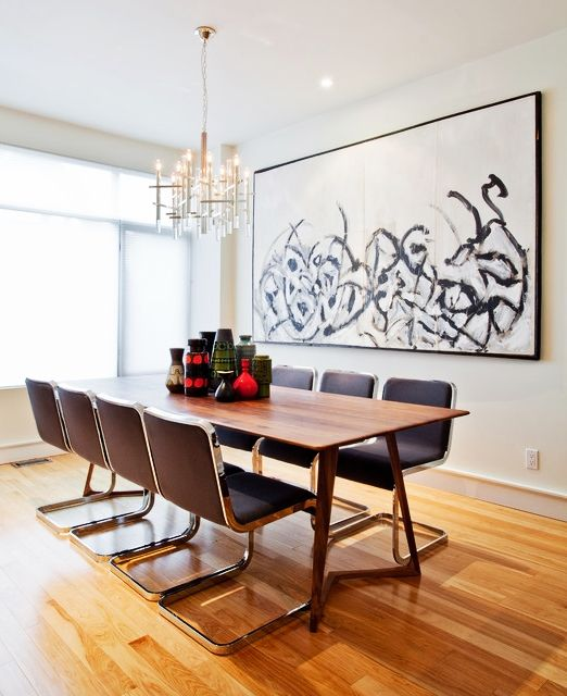 Dining Room Fancy Long Wooden Table In Dining Room With Artistic Magnificent Flooring For Dining Room Creative