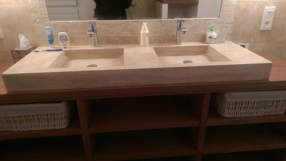Meuble en bois massif et plan vasque en pierre naturelle Création - meuble salle de bain pierre naturelle
