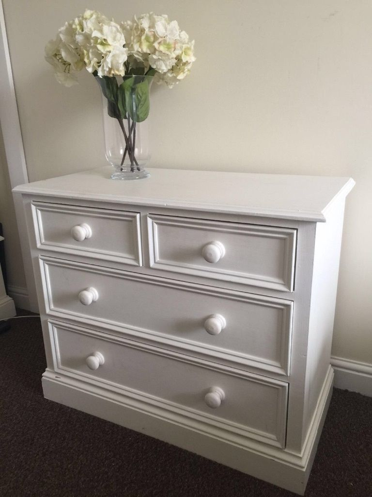Solid pine white painted chest of drawers - full bedroom set