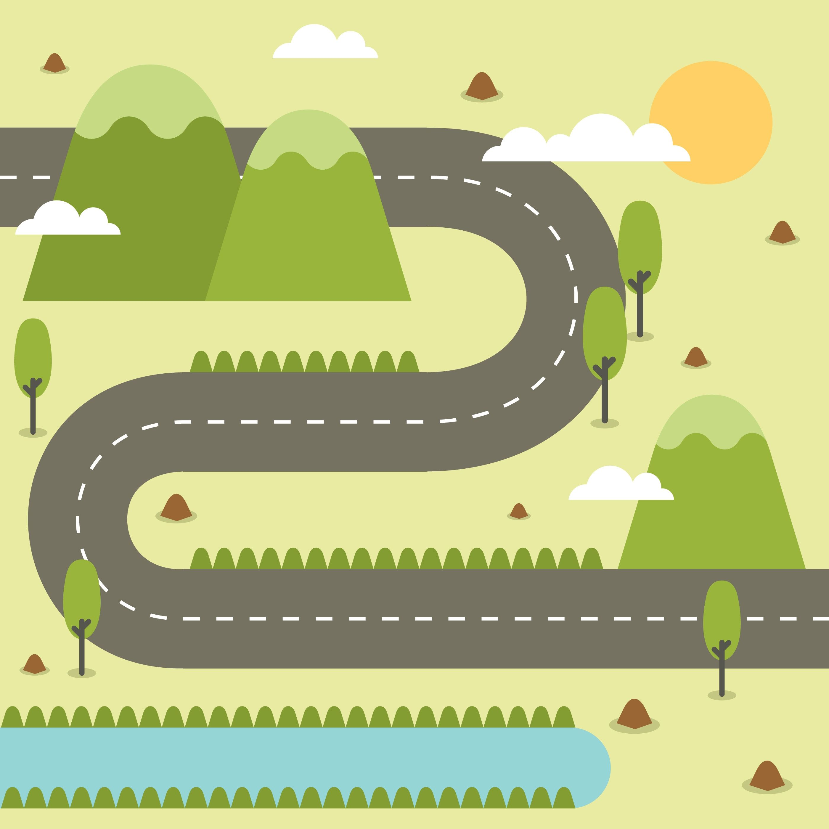 Road Map Clipart Images In 2021 Illustrated Map Maps Illustration Design Road Map Design