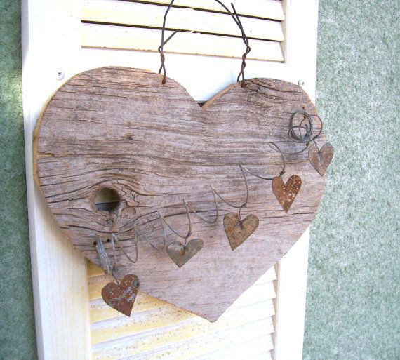 Heart Art Assemblage Barn Wood Crafts Wooden Hearts Blue Velvet Chairs