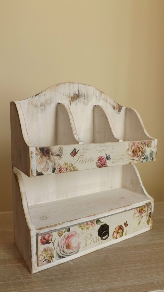 WOODEN LETTER RACK,  WALL SHELF,  STORAGE CHEST, SHABBY CHIC,  COUNTRY KITCHEN Available from  http://stores.ebay.co.uk/Dolly-Daydream-Boutique https://www.facebook.com/maisonroyale.co.uk