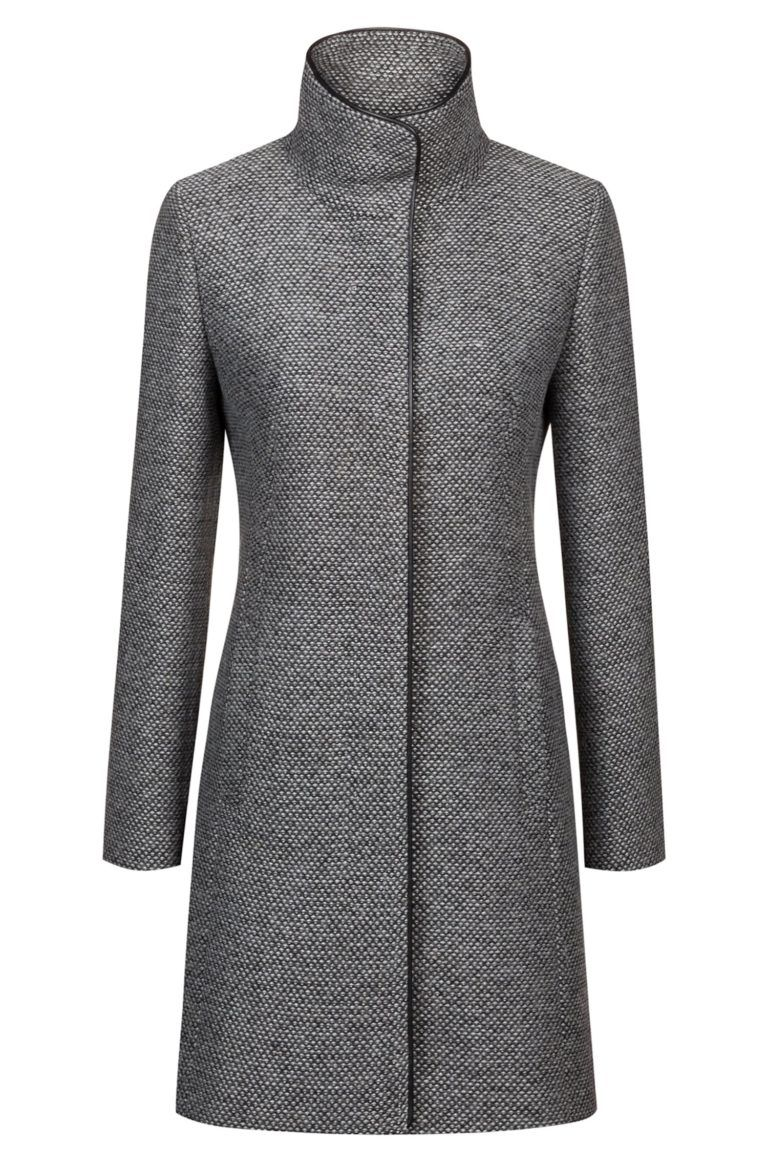 Hugo Boss Patterned Coat With Faux Leather Trims And Stand Collar Womens Dress Coats Stand Collar Coat Woman Coat Fashion [ 1165 x 768 Pixel ]