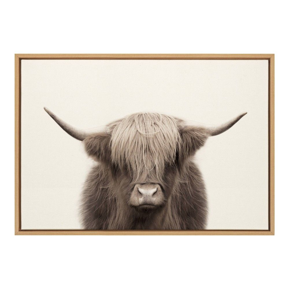 23 X 33 Sylvie Highland Cow Color Framed Canvas By The Creative Bunch Studio Natural Kate And Laurel Canvas Frame Cow Colour Textured Canvas Art