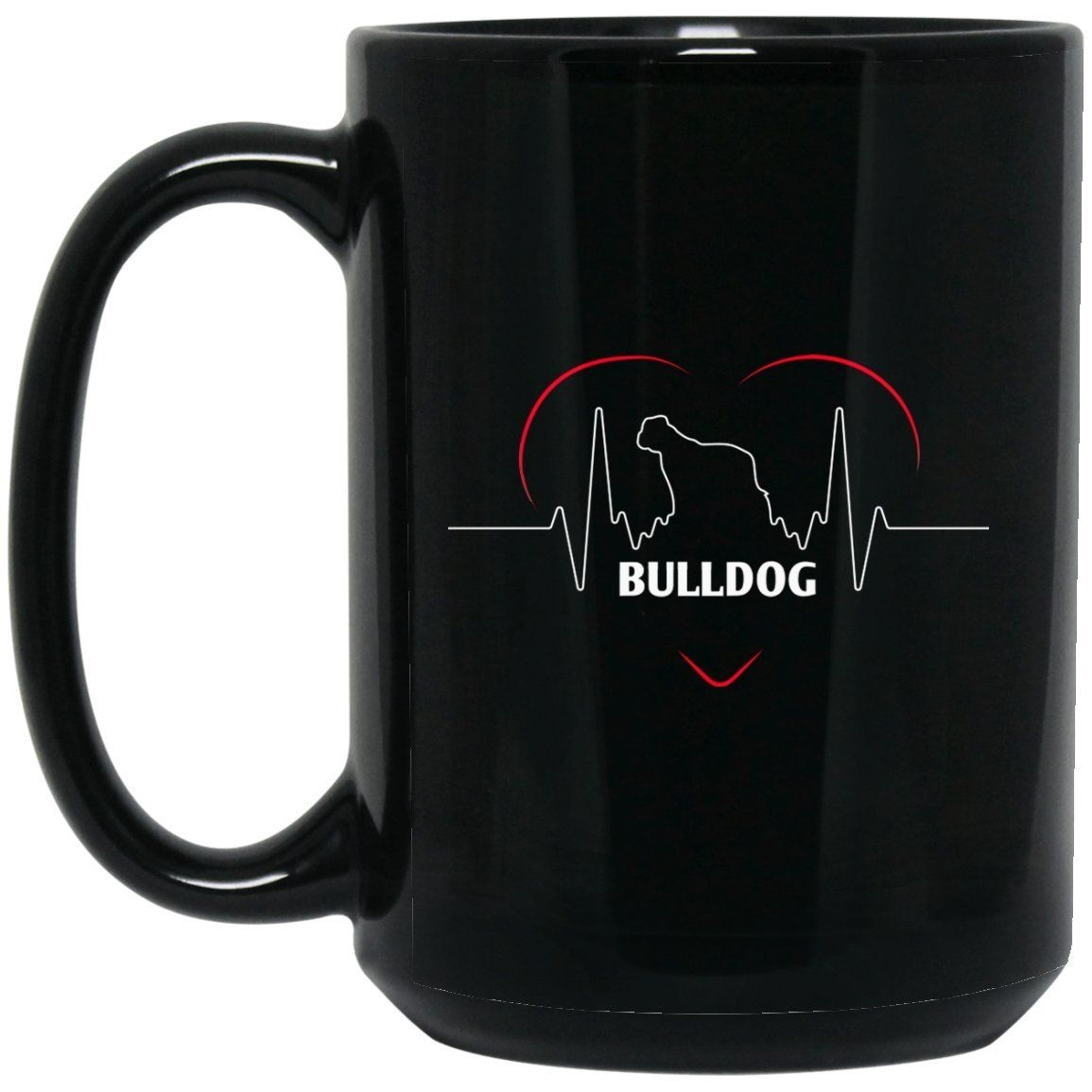 Funny Bulldog Mug - Bulldog Silhouette Heartbeat Large Black Mug #funnybulldog