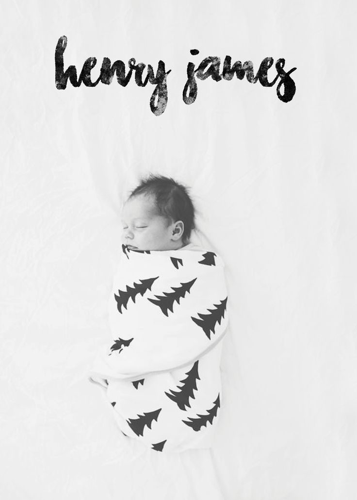 Hipster Baby Announcement Birth Newborn Baby Boy Unisex Black – Black and White Birth Announcements