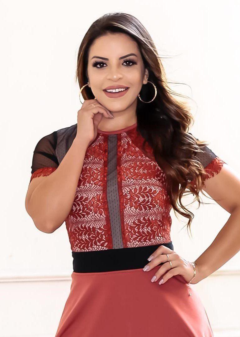 Vestido Godê Blusa Renda Cor Goiaba (com imagens