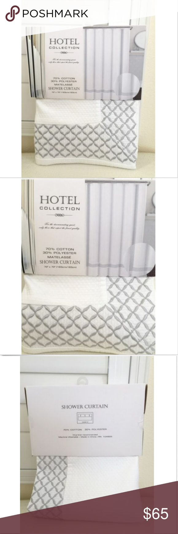 Hotel Collection Shower Curtain Nwt Hotel Collection Silver