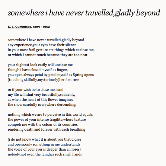 Read Somewhere I Have Never Travelled Gladly Beyond By EE Cummings To Express Wedding PoemsToastWedding