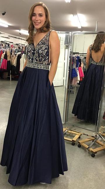 V-neck Sexy Long Prom Dress With Beading Custom-made School Dance Dress Fashion Graduation Party Dress CR 1737 #schooldancedresses