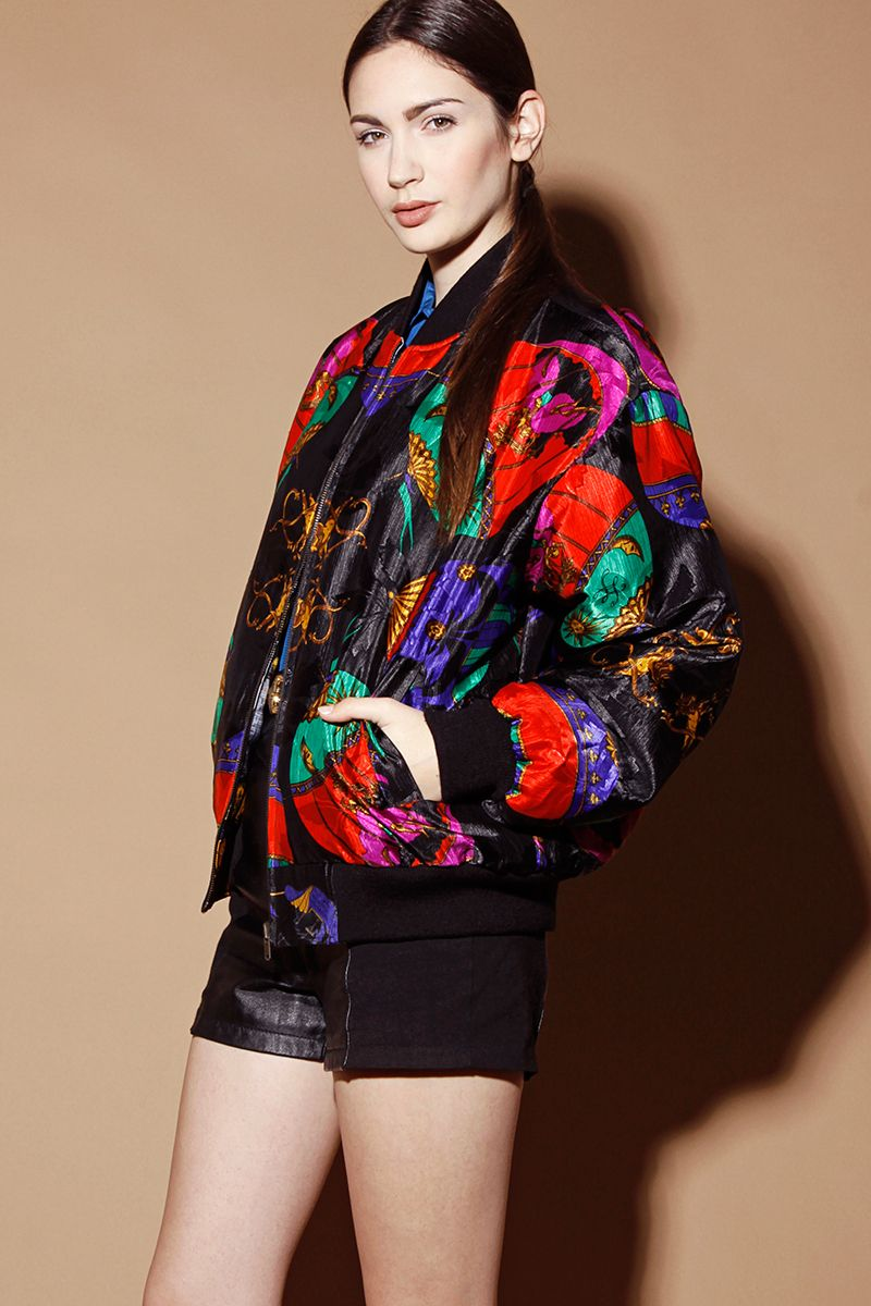 90s Baroque Filigree Navy Blue and Gold atheletic bomber jacket ...