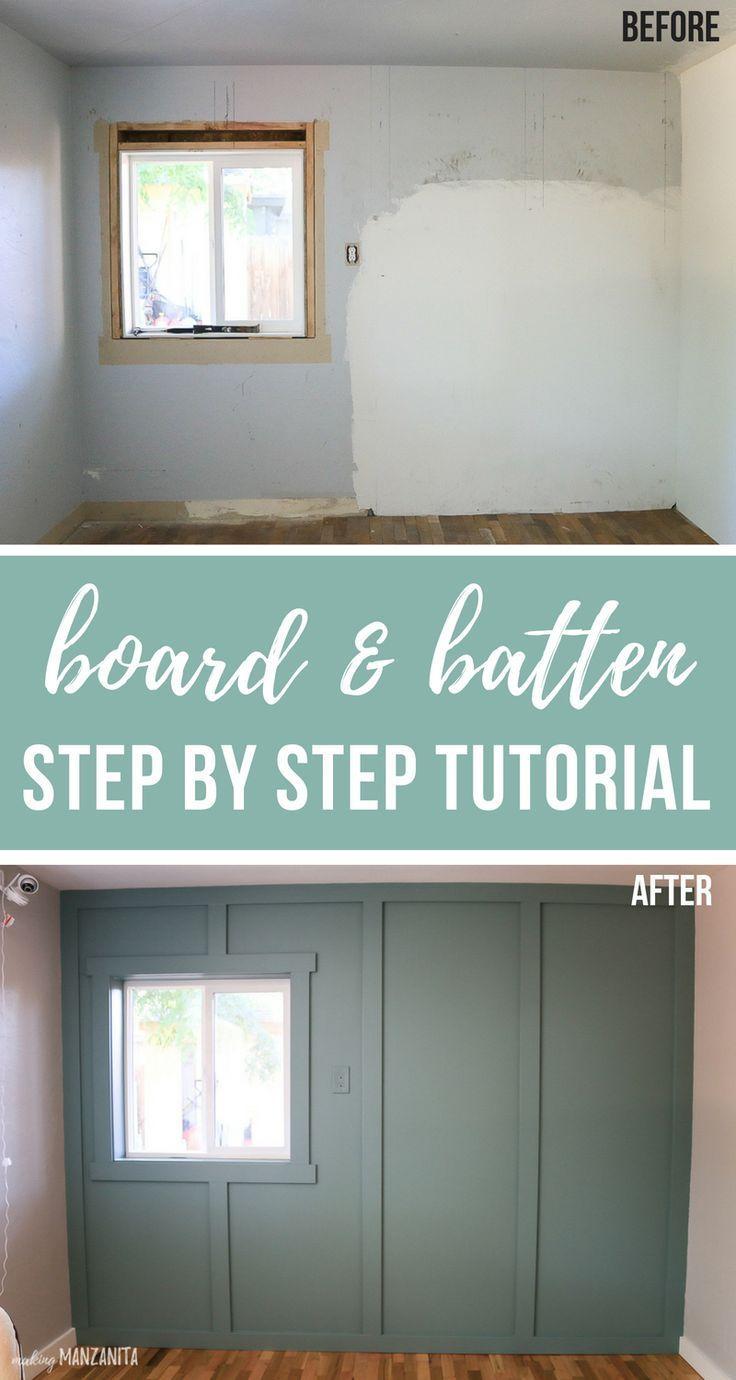 Board and Batten Wall Tutorial (on textured walls #boardandbattenwall