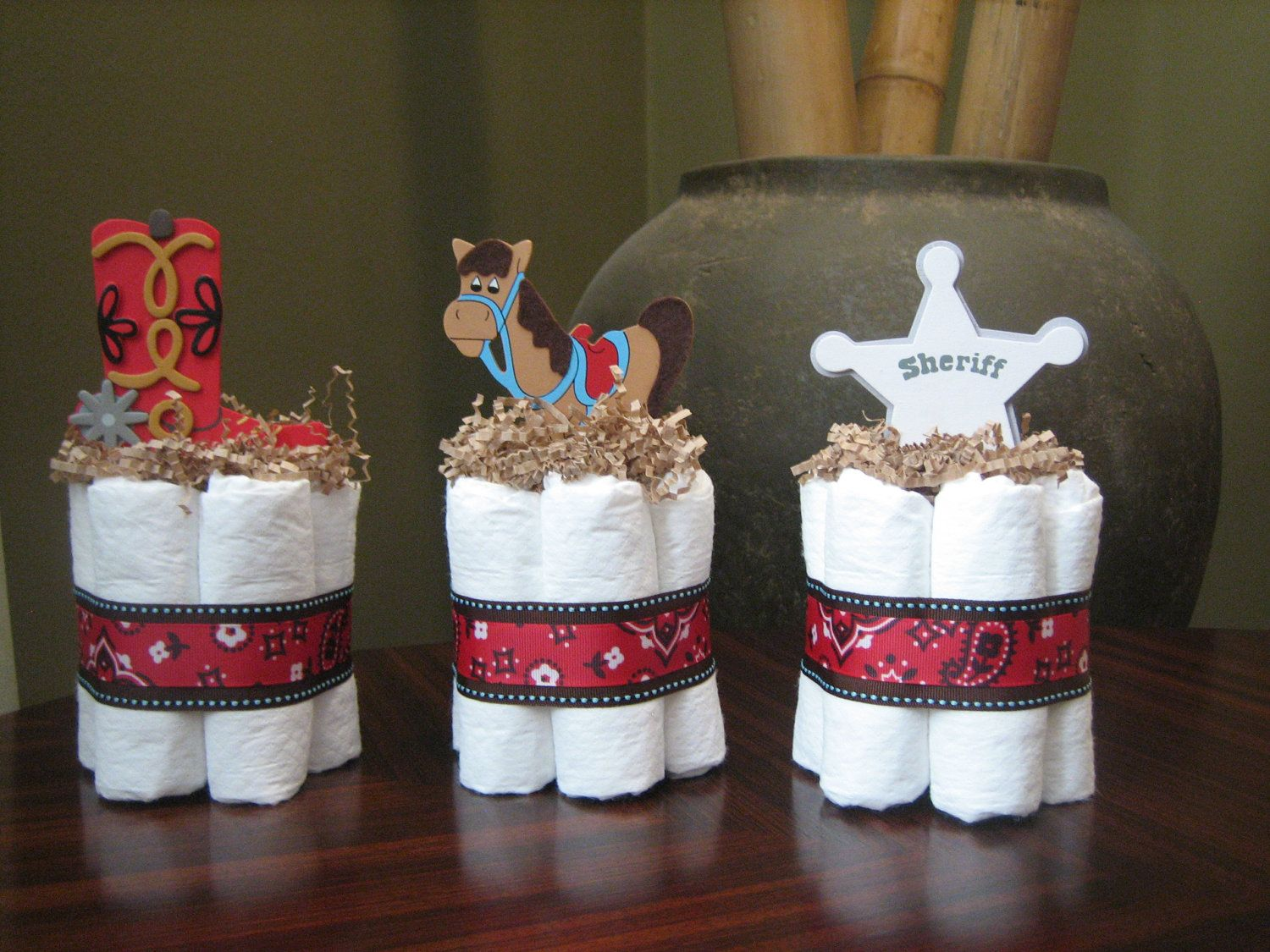 Little Cowboy Mini Diaper Cakes For Baby Shower Decoration Or New Baby Gift Cowboy Diaper Cake L Cowboy Baby Shower Cheap Baby Shower Decorations Baby Cowboy