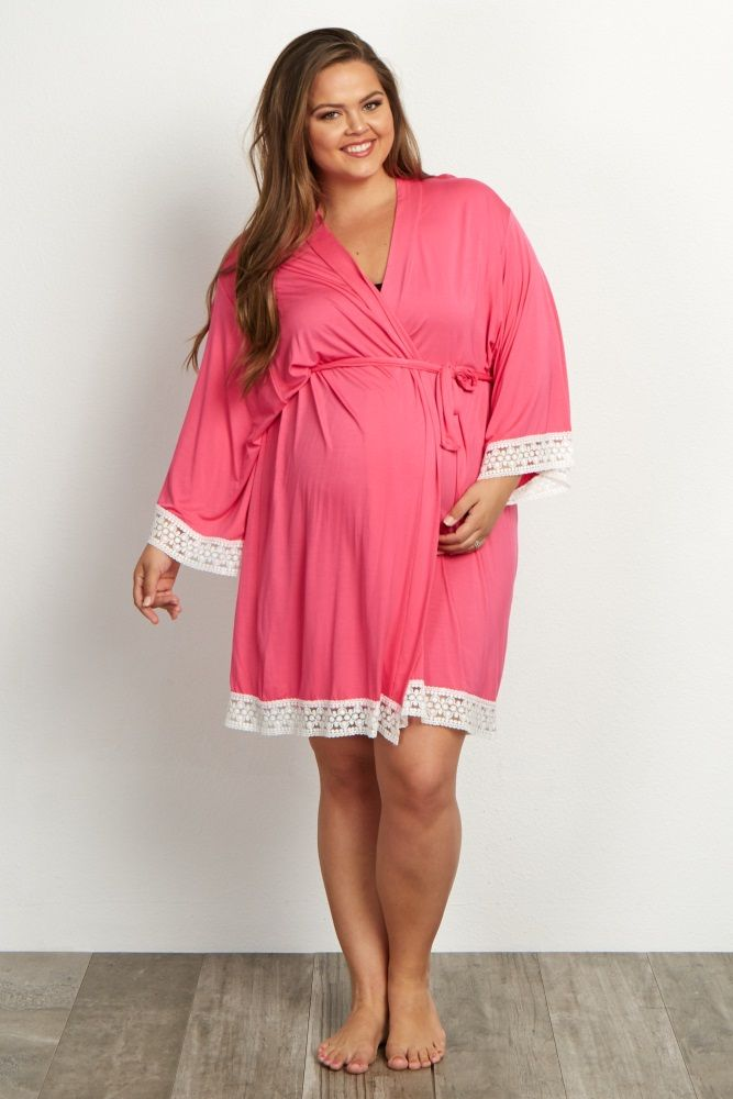 Fuchsia Lace Trim Plus Size Dressing Robe | Maternity robe, Dressing ...