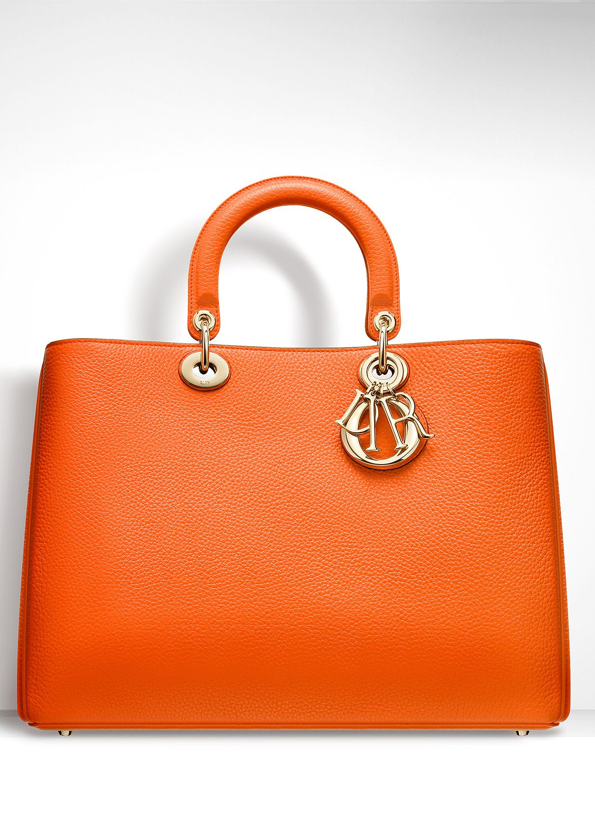 Dior ~ LARGE  DIORISSIMO  BAG TANGERINE BULLCALF LEATHER   Orange ... dec0f4d764d