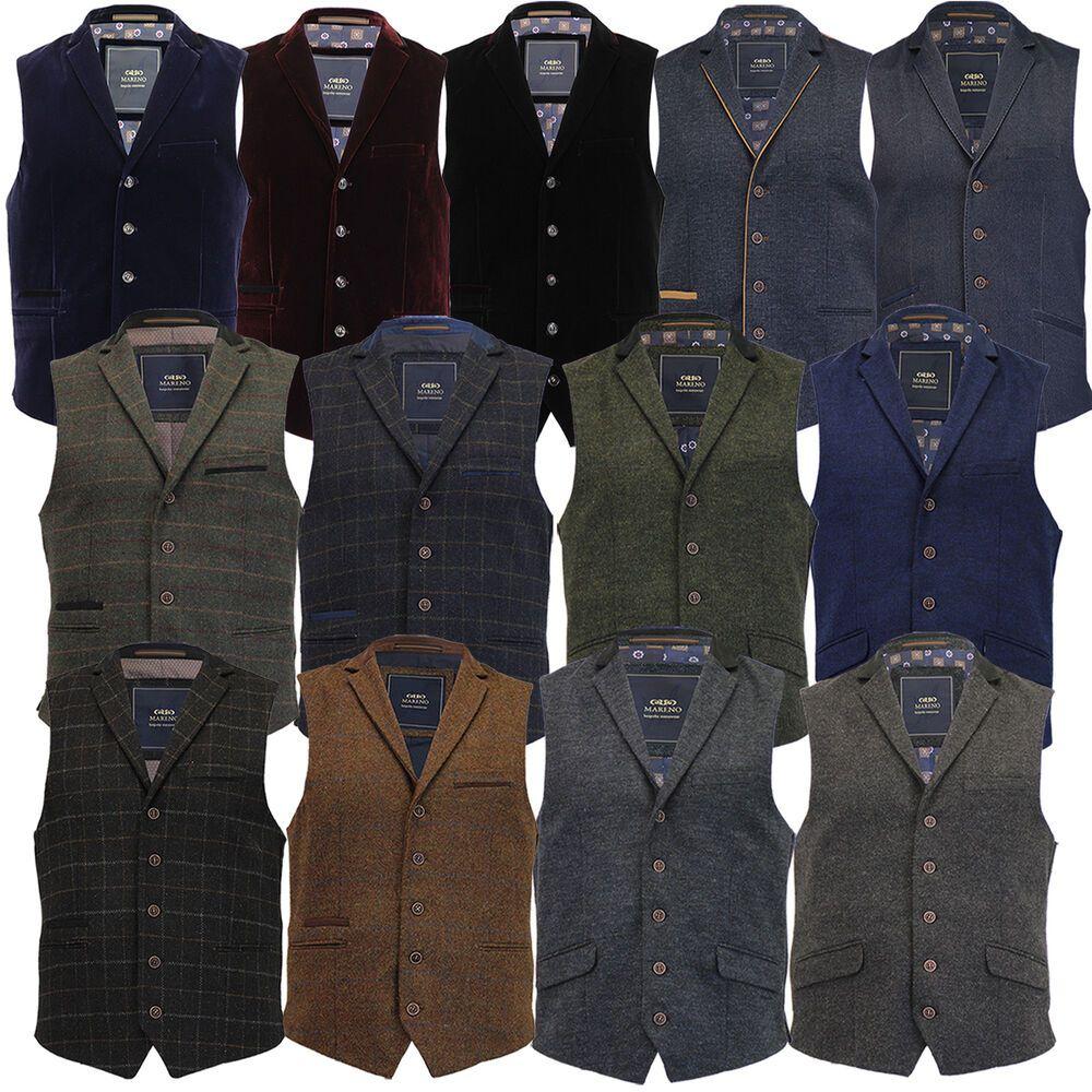 Mens MARENO Waistcoat Wool Mix Formal Vest Herringbone Tweed Check Velvet Lined