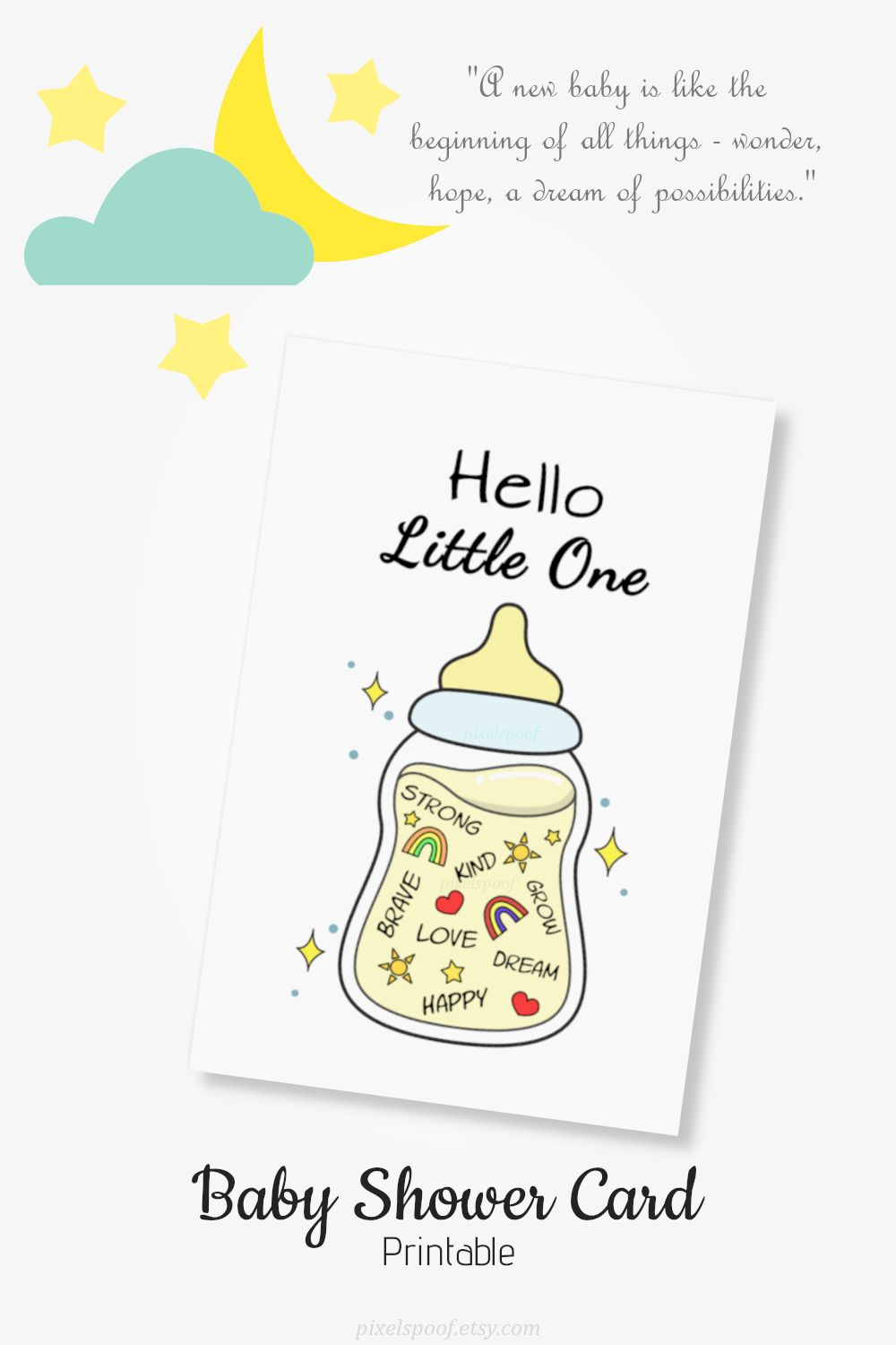 printable welcome new born baby card baby shower