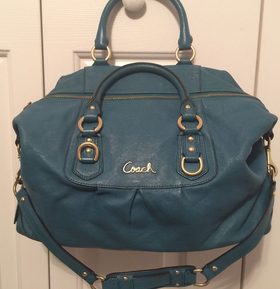 Coach Ashley Large Leather Satchel Shoulder Bag Teal F15447 ...