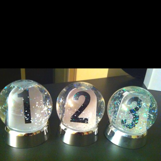 Snow Globe Table Numbers For A Winter Wedding