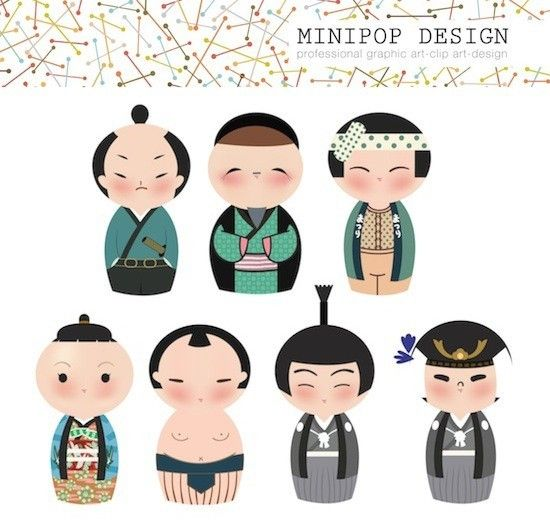 Set of Cute Japanese Male Kokeshi Characters - Printable Digital Clip Art