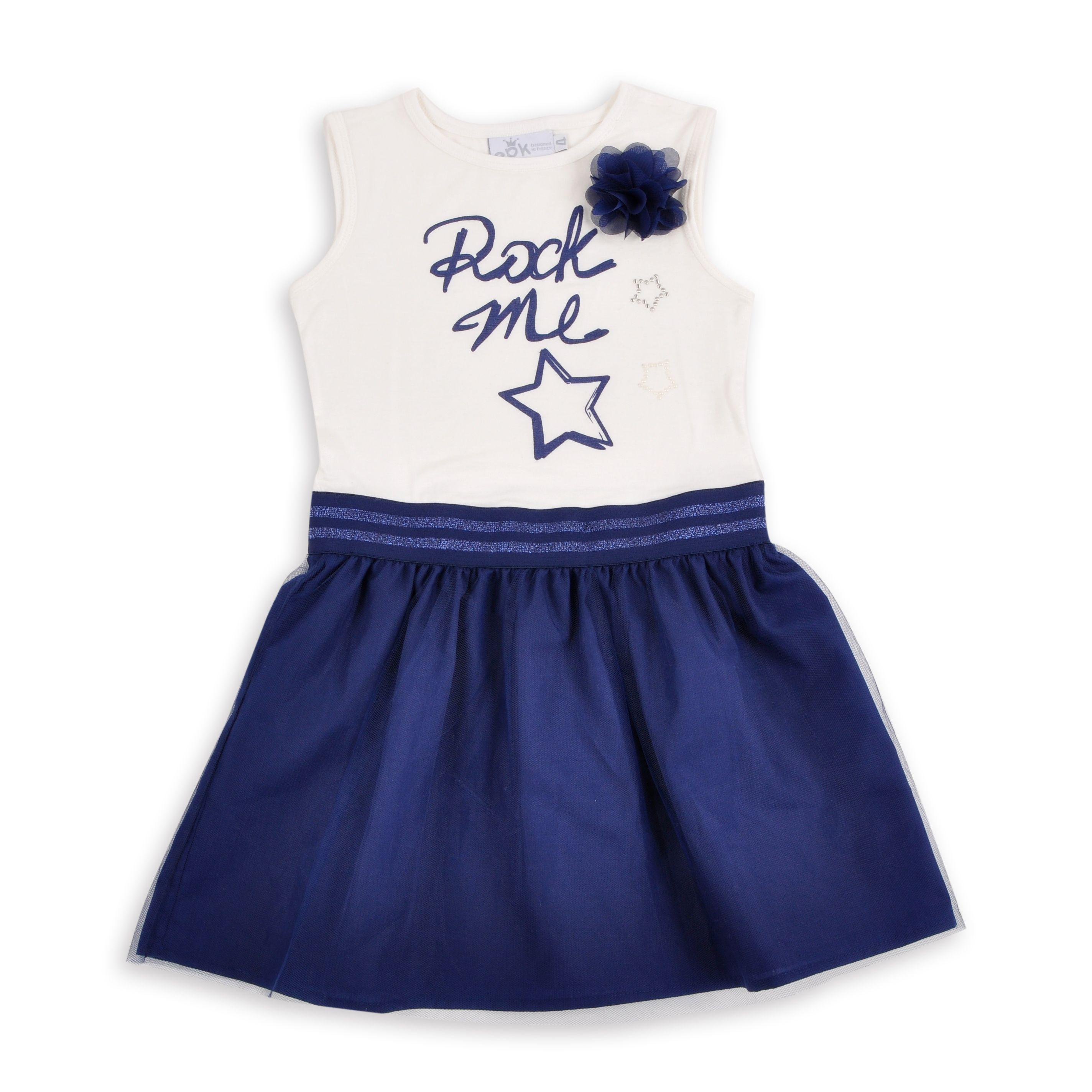 Vestido para ni±a en color hueso y falda de tull azul marino EPK