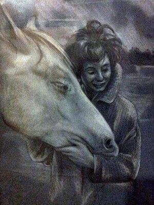 Portrait meiner Mutter als junges Mädchen mit ihrem Pferd