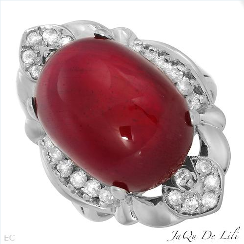 $1,019.00  Jaqu De Lili! Made in USA Vibrant Brand New Ring With 23.60ctw Clean Diamonds and Ruby Made of 14K Gold