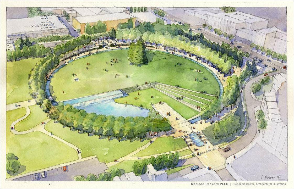 Downtown Park Circle Drawing Jpg 1 122 722 Pixels Park Landscape Landscape Design Recreational Parks